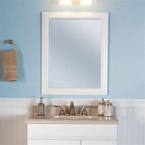 Frame Bathroom Wall Mirror Framed Wall Hanging Bathroom Mirror 24 In X 30 In Bath Vanity Decor White New Ebay
