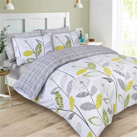 duvet bedding sets reversible duvet cover with pillowcase bedding set tartan check allium grey new ebay