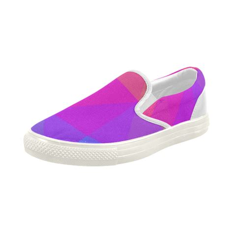 triangle rainbow abstract s slip on canvas shoes