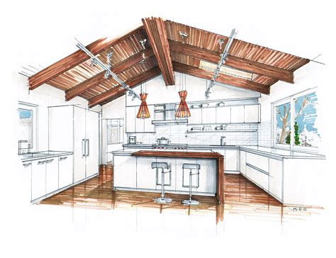 Kitchen Design Sketch with Interior Design Sketches Kitchen Mick Ricereto Interiors Decobizz