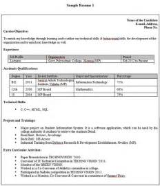 Technical Resume Format For Freshers by Resume Of Fresher Civil Engineering