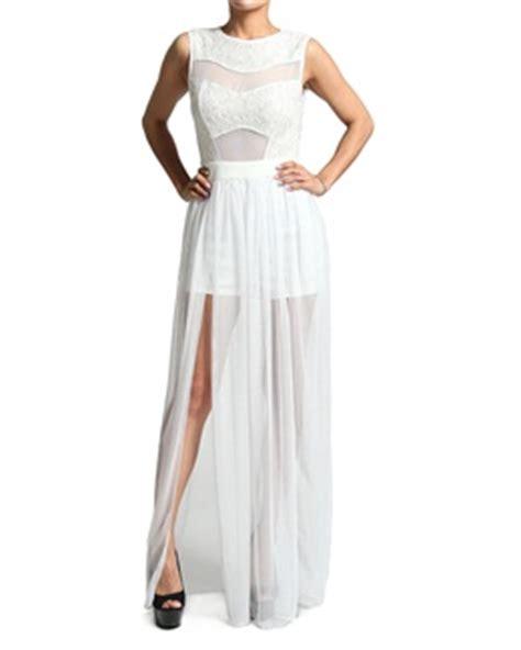 lace chiffon cutout maxi dress with bodysuit slit skirt