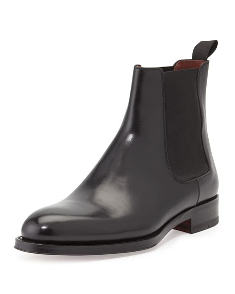 neiman boots neiman polished leather chelsea boot in black for