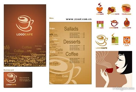 business card graphics books coffee 4 designer coffee theme vector material