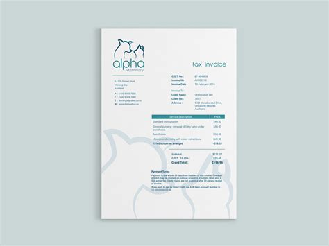 Invoice Tax Letterhead alpha veterinary identity on behance