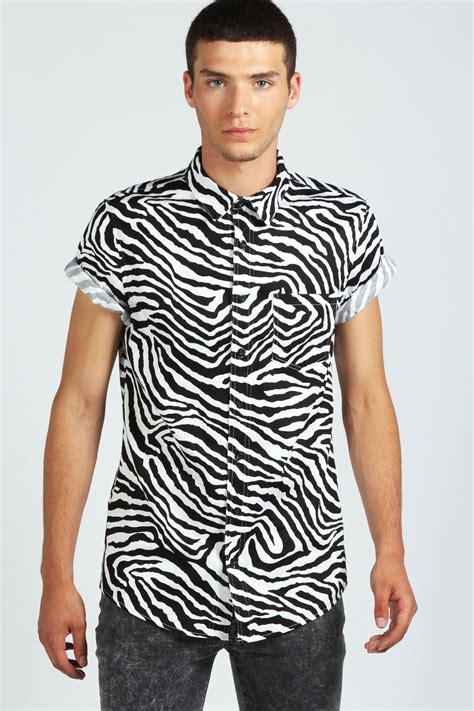 Print Shirt boohoo mens sleeve zebra print cotton top shirt in