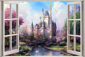 Castle Wall Mural 3d Window View Fantasy Castle Princess Prince Wall Sticker