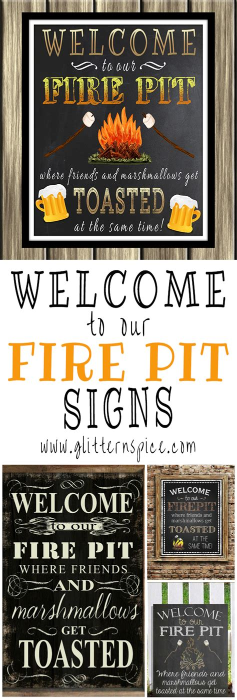 pit signs decorate outdoor spaces with a welcome to our pit