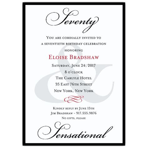 wording 70th birthday invitations classic 70th birthday milestone invitations paperstyle