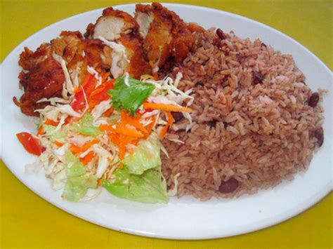 Jamaican Home Decor jamaican fried chicken and rice and peas
