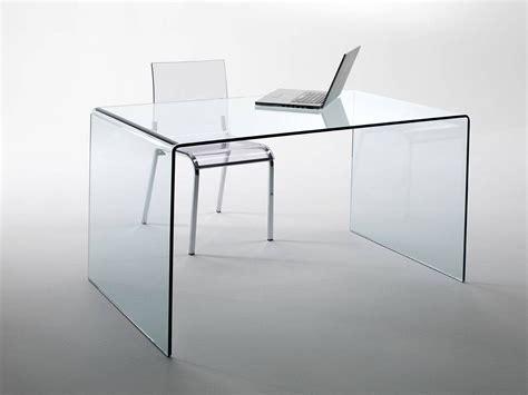 scrivania in vetro curvato scriptorium tavolo scrivania in vetro curvato