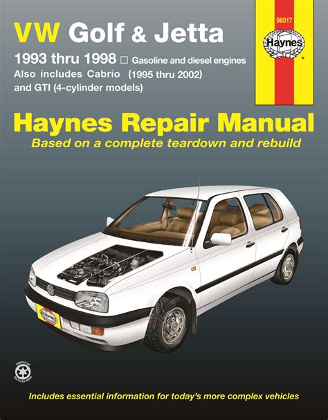 car service manuals pdf 1993 volkswagen jetta engine control vw golf gti jetta haynes repair manual for 1993 thru 1998 and vw cabrio 1995 thru 2002 with