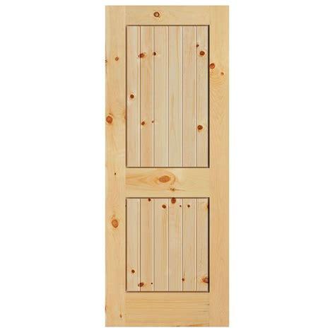 Interior Plank Doors Masonite 30 In X 84 In Knotty Pine Veneer 2 Panel Plank V Groove Solid Wood Interior Barn Door