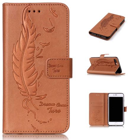 Leather Flip Cover Flip Advan I4c feather style luxury pu leather flip for iphone 6 6s plus 7 plus sided embossing phone
