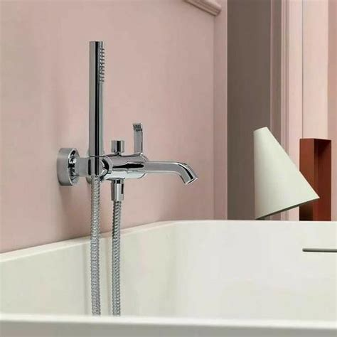 wall mounted bathtub filler zucchetti on wall mount tub filler with hand shower