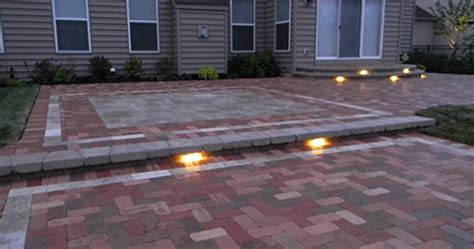 Patio Paver Lights Paver Patio With Led Lighting Landscaping Outdoor Kitchens Outdoor Living In Columbus Ohio