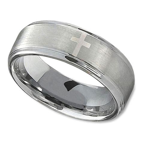 Christian Wedding Rings by Christian Wedding Ring In 8mm With Polished Cross