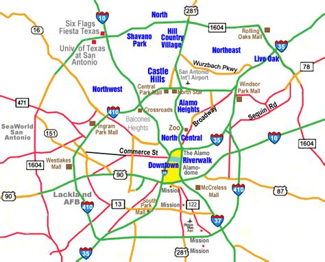 texas san antonio map restaurants by location san antonio map