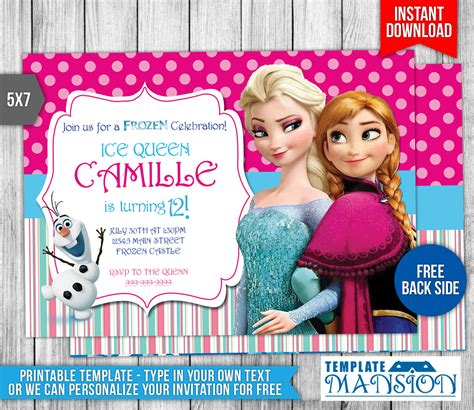 disney frozen birthday invitations disney frozen birthday invitation 2 by templatemansion on deviantart
