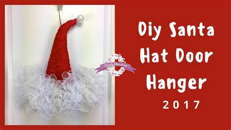 How To Make A Santa Hat Out Of Paper - deco mesh santa hat door hanger tutorial