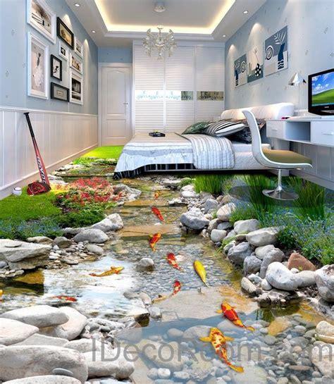 3D Fish Stone Stream Floor Decals WallPaper Murals Wall