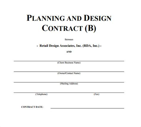 interior design contract samples   ms word