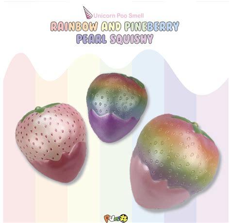 a squishy puni maru rainbow and pearl pineberry strawberry squishy