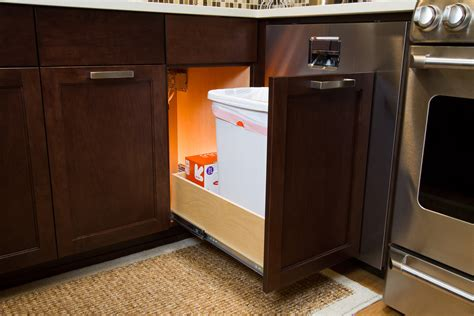 kitchen cabinet trash slide out shelfgenie of new hshire roll out shelves are designed