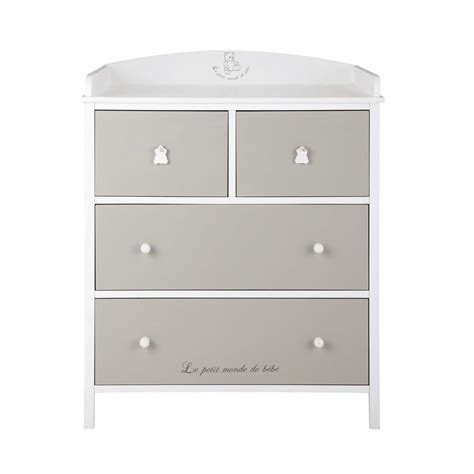 Commode Taupe by Commode 224 Langer Blanche Et Taupe Ourson Maisons Du Monde