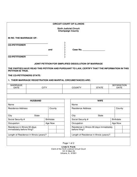 Dissolution Of Marriage Records Petition For Dissolution Of Marriage Illinois Form