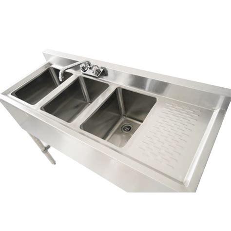 10 x 12 bar sink 3 bowl 10 x 14 x 10 underbar sink w r drainboard