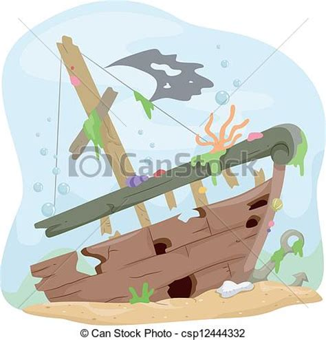 boat underwater drawing vectors of underwater shipwreck illustration of a