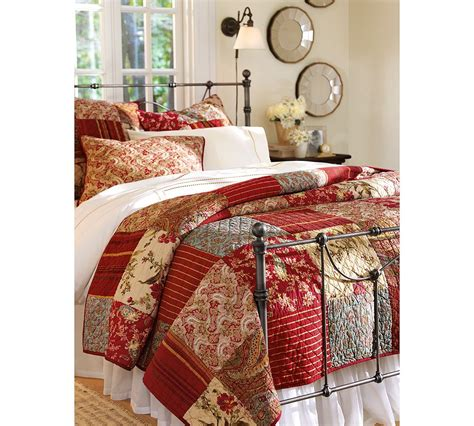 pottery barn coverlet pottery barn georgia patchwork quilt full queen red new ebay