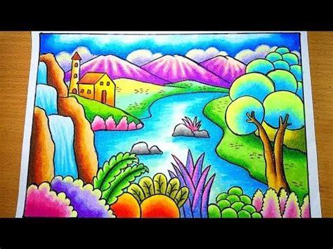 menggambar  mewarnai gradasi pemandangan gunung