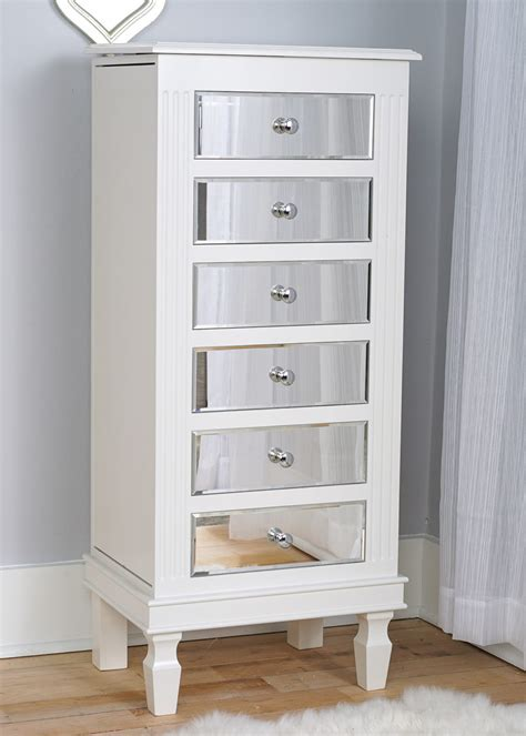 Ava Jewelry Armoire ~ Mirrored White | Hives and Honey Jewelry Armoire With Mirror
