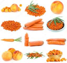 what came the color orange or the fruit set of orange fruits and vegetables stock photo