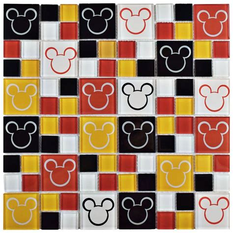mickey mouse tiles for bathroom disney mickey multi 11 3 4 in x 11 3 4 in x 5 mm glass