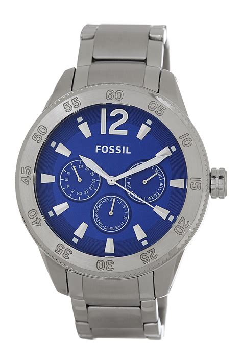 new fossil silver tone blue multi function stainless steel bq1164 ebay