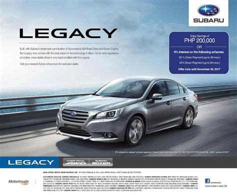 subaru legacy discount offer extended until end of
