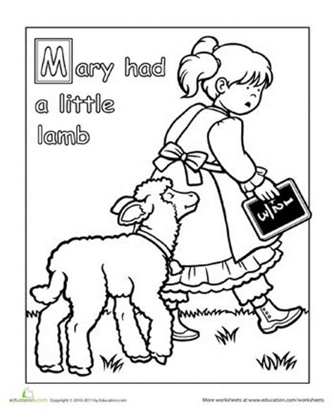 mary had a little lamb coloring page
