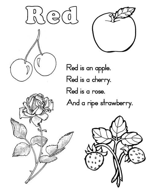 10 best images of red color worksheets printable color