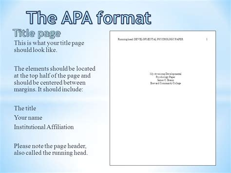 format apa video the apa format title page ppt video online download
