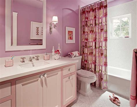 Cute girl bathroom decor with white and pink colors home interior amp exterior