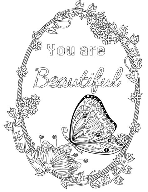 coloring pages for adults inspirational coloring inspirational quotes you are beautiful the