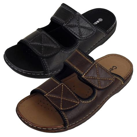 slip on sandals for mens mules sandals faux leather smart slip on velcro