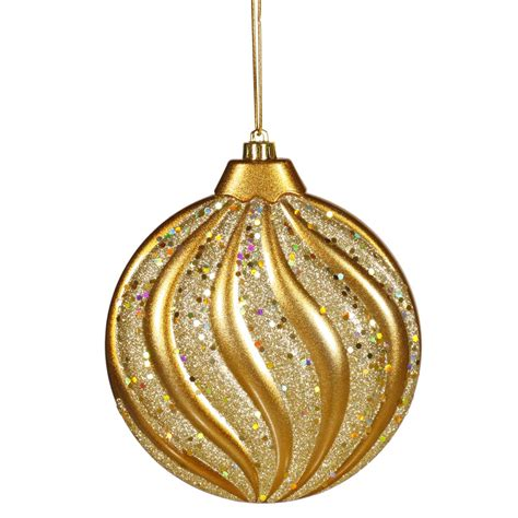 gold ornaments 6 inch matte glitter flat ornament antique