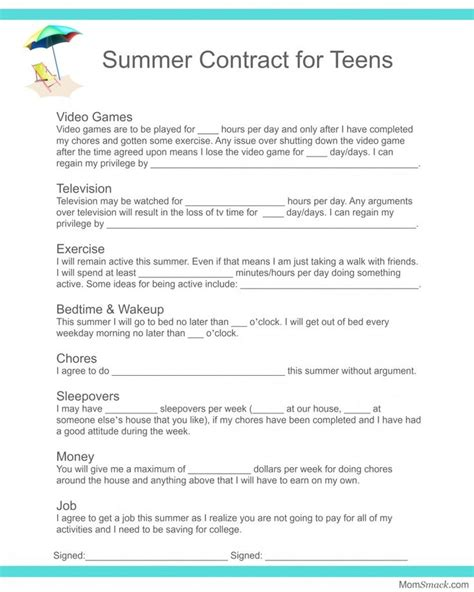 Printable Chore Contract