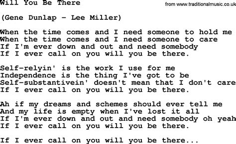 Will You Be There loretta song will you be there lyrics