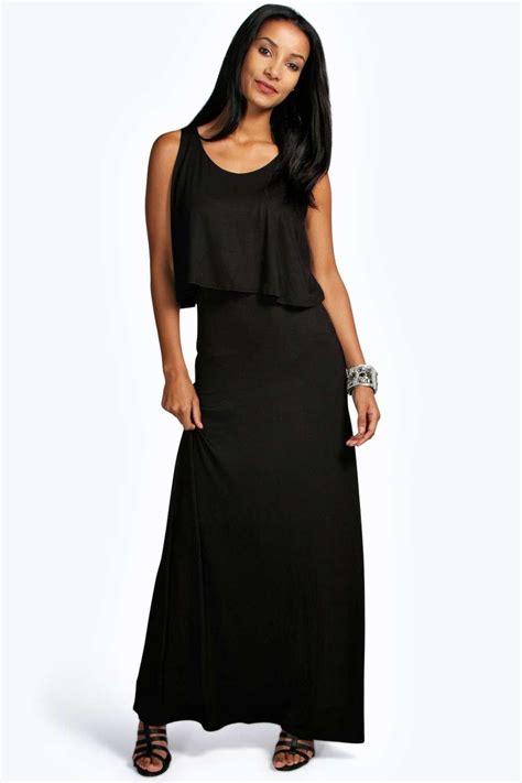 Black Layer Dress W8211usn I boohoo womens layer maxi dress