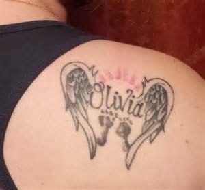 Baby footprint tattoos with angel wings